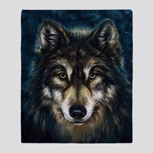 Artistic Wolf Face Throw Blanket