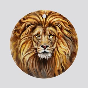Artistic Lion Face Round Ornament