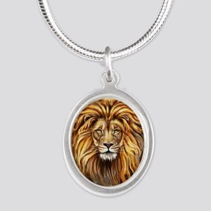 Artistic Lion Face Silver Oval Necklace
