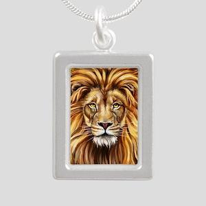 Artistic Lion Face Silver Portrait Necklace