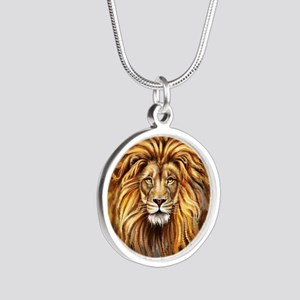 Artistic Lion Face Silver Round Necklace