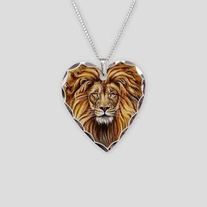 Artistic Lion Face Necklace Heart Charm