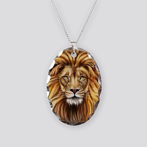 Artistic Lion Face Necklace Oval Charm