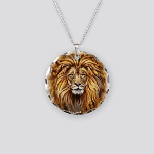 Artistic Lion Face Necklace Circle Charm