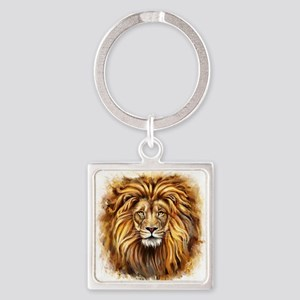 Artistic Lion Face Square Keychain