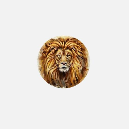 Artistic Lion Face Mini Button
