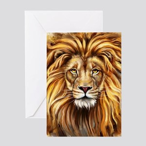Artistic Lion Face Greeting Card
