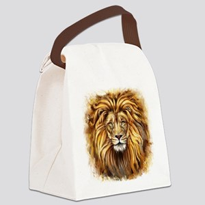 Artistic Lion Face Canvas Lunch Bag
