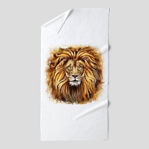 Artistic Lion Face Beach Towel