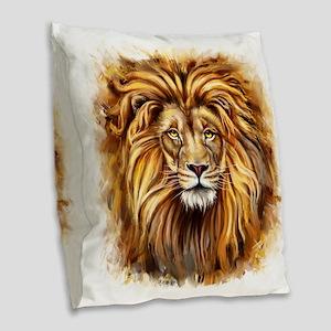 Artistic Lion Face Burlap Throw Pillow