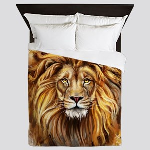 Artistic Lion Face Queen Duvet
