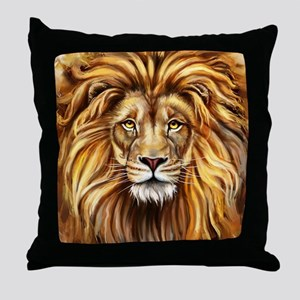 Artistic Lion Face Throw Pillow