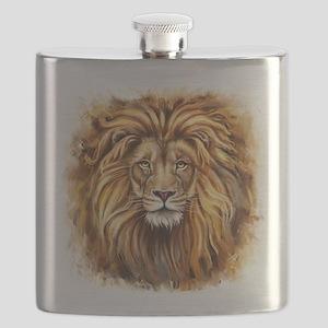 Artistic Lion Face Flask