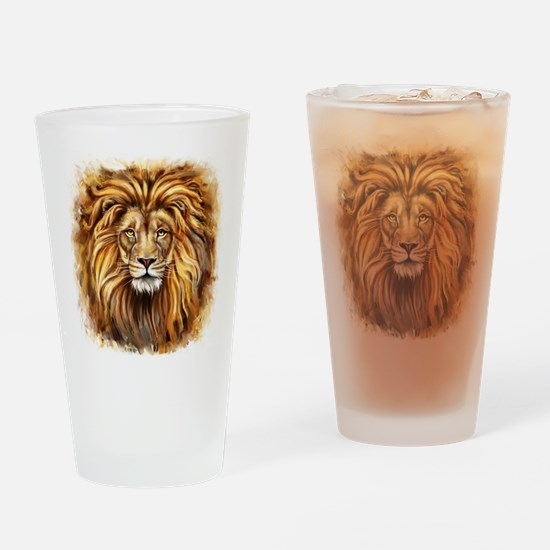 Artistic Lion Face Drinking Glass