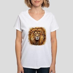 b3693f6f57c962 Artistic Lion Face Women s V-Neck T-Shirt