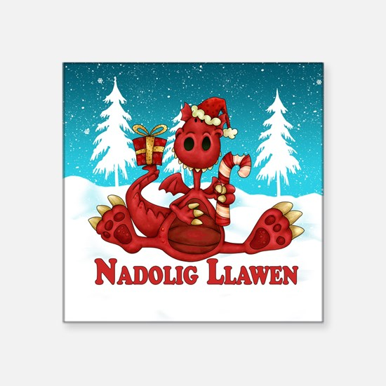 "Welsh Dragon Christmas Square Sticker 3"" X 3&"