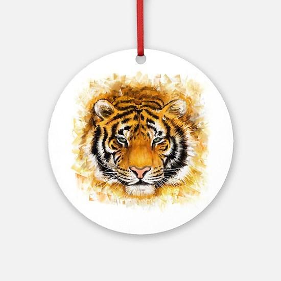 Artistic Tiger Face Round Ornament