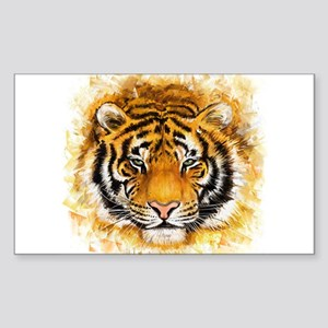 Artistic Tiger Face Sticker (Rectangle)