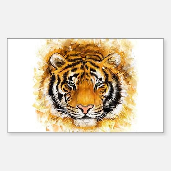 Artistic Tiger Face Sticker (Rectangle)