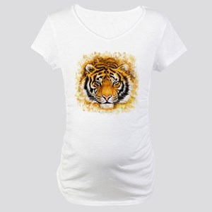 Artistic Tiger Face Maternity T-Shirt