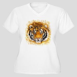 Artistic Tiger Fa Women's Plus Size V-Neck T-Shirt