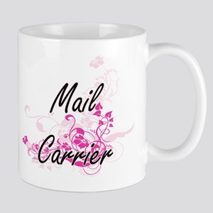 Mail Carrier Artistic Job Design with Flowers Mugs