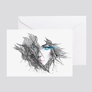 Artistic Female Face Greeting Card