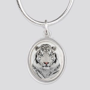 White Tiger Head Silver Oval Necklace