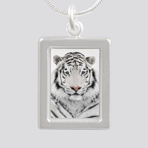 White Tiger Head Silver Portrait Necklace