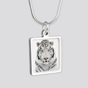 White Tiger Head Silver Square Necklace