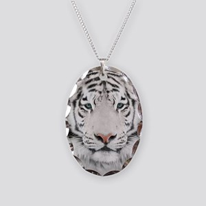 White Tiger Head Necklace Oval Charm