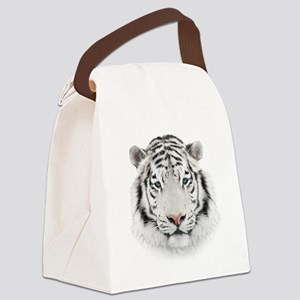 White Tiger Head Canvas Lunch Bag