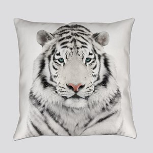 White Tiger Head Everyday Pillow