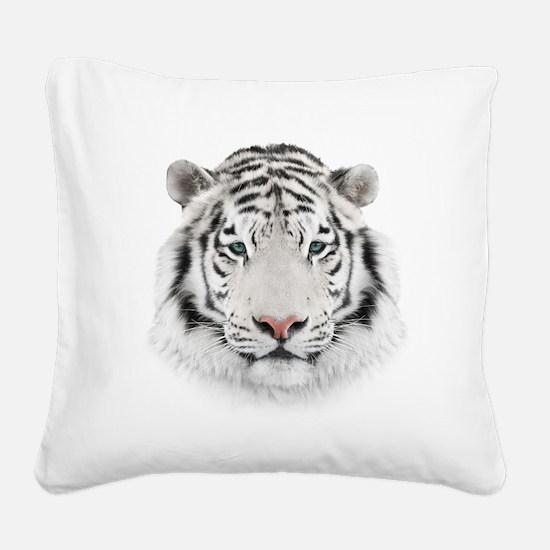White Tiger Head Square Canvas Pillow