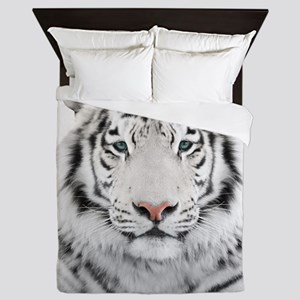 White Tiger Head Queen Duvet
