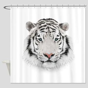 White Tiger Head Shower Curtain