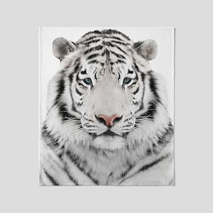 White Tiger Head Throw Blanket