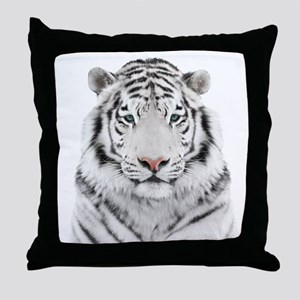 White Tiger Head Throw Pillow
