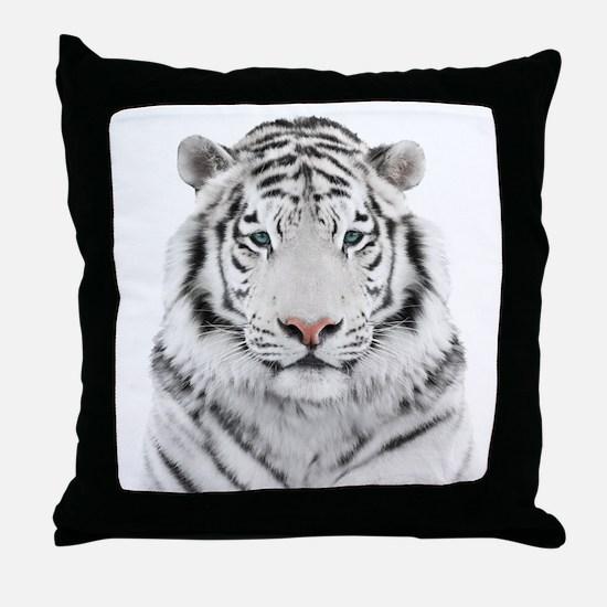 White Tiger Head Throw Pillow