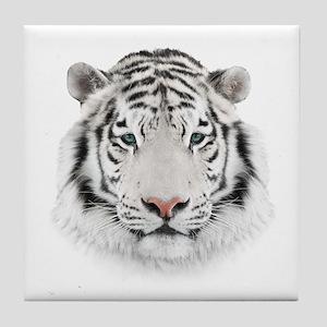 White Tiger Head Tile Coaster