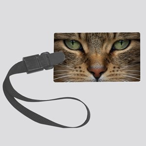 Tabby Cat Face Large Luggage Tag