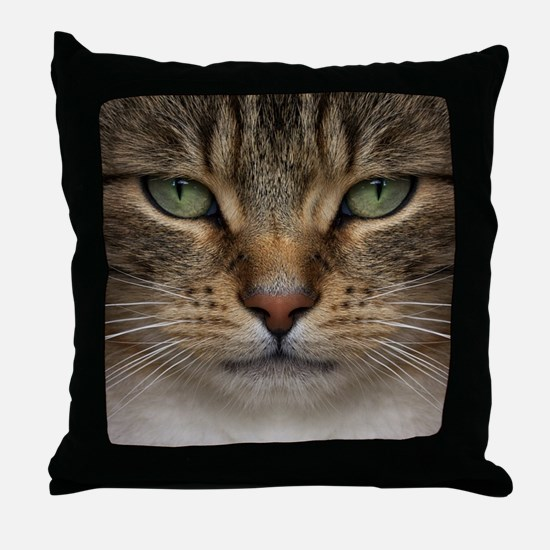 Tabby Cat Face Throw Pillow