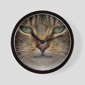 Tabby Cat Face Wall Clock