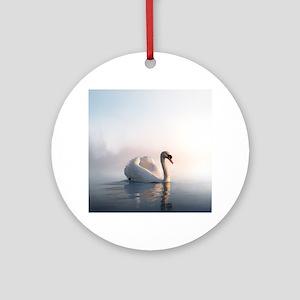 Swan Sunrise Round Ornament