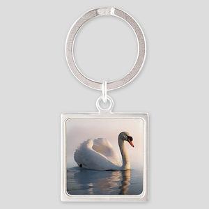 Swan Sunrise Square Keychain