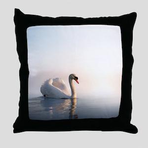 Swan Sunrise Throw Pillow