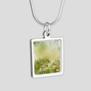 Easter Landscape Silver Square Necklace