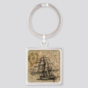 Vintage Map Ship Compass Square Keychain