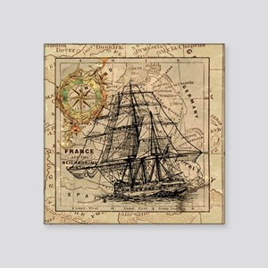 "Vintage Map Ship Compass Square Sticker 3"" x 3"""