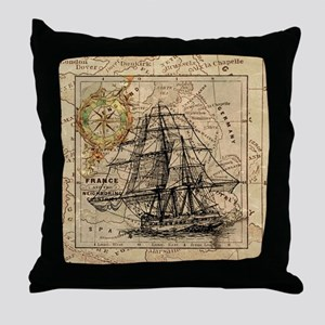 Vintage Map Ship Compass Throw Pillow